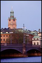 Bridge and church in Gamla Stan. Stockholm, Sweden (color)