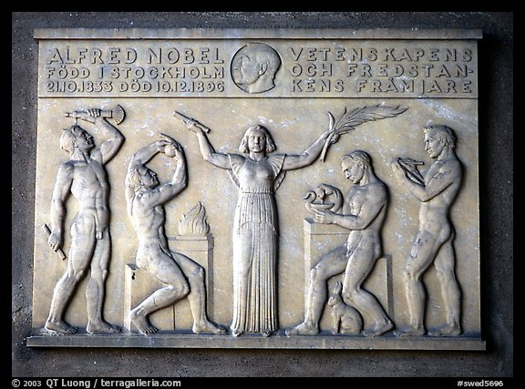 Bas relief in the Stadshuset commemorating Alfred Nobel. Stockholm, Sweden