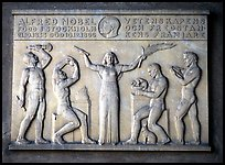 Bas relief in the Stadshuset commemorating Alfred Nobel. Stockholm, Sweden (color)