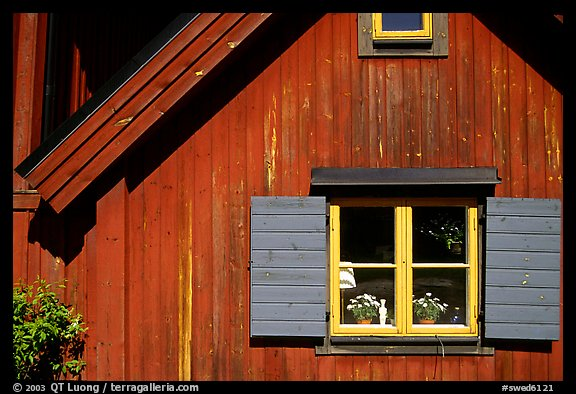 Detail of a red house. Stockholm, Sweden