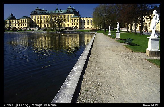 Basin and an alley in royal residence of Drottningholm. Sweden (color)