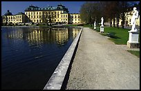 Basin and an alley in royal residence of Drottningholm. Sweden