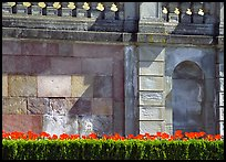 Tulips and wall, parks of royal residence of Drottningholm. Sweden ( color)