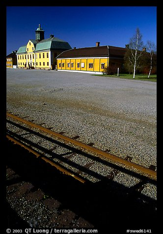 Railroad in Falun, a copper mining area, which was in the 17th century the world's most important mining area.. Central Sweden (color)