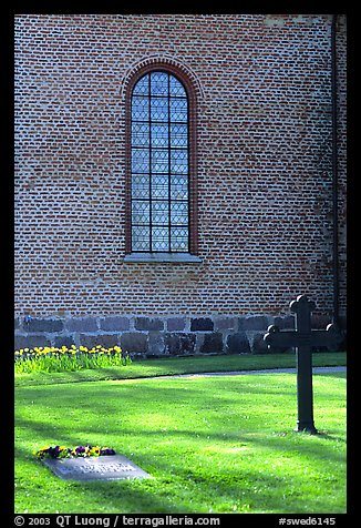 Graves in abbey grounds, Vadstena. Gotaland, Sweden (color)