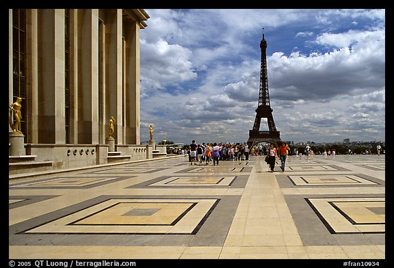 Eiffel tower seen from the marble surface of Parvis de Chaillot. Paris, France (color)