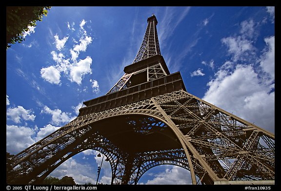 Wide view of Eiffel tower from its base. Paris, France (color)