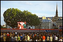 Crowds watch a broadcast of a soccer match near Hotel de Ville. Paris, France ( color)