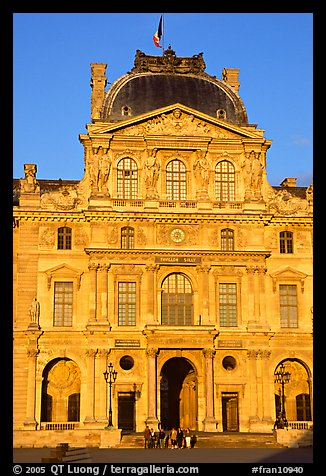 Pavilion in the Sully Wing of the Louvre at sunset. Paris, France (color)