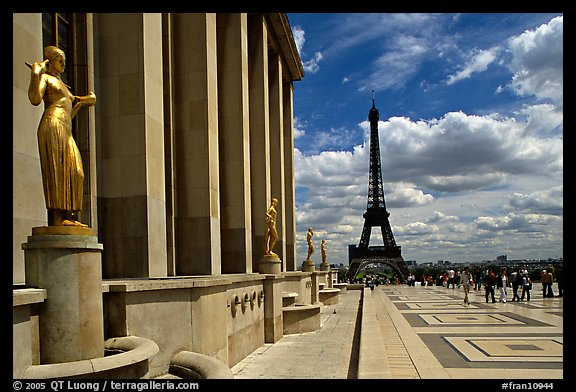 Maillol sculpture, Palais de Chaillot, and Eiffel tower. Paris, France (color)