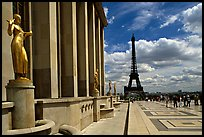 Maillol sculpture, Palais de Chaillot, and Eiffel tower. Paris, France