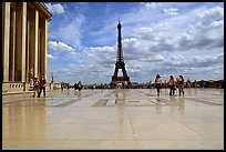 Parvis de Chaillot and Tour Eiffel. Paris, France (color)