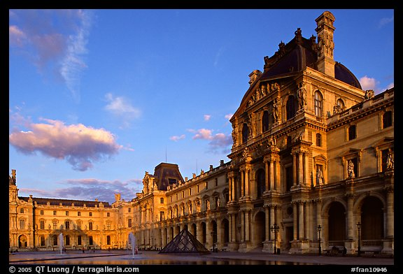 Denon Wing of the Louvre at sunset. Paris, France (color)
