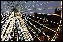 Lighted Ferris wheel in the Tuileries. Paris, France (color)