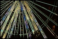 Detail of Ferris wheel at night, Tuileries. Paris, France (color)