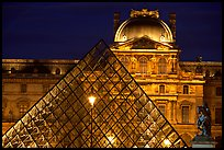 Pyramid and Louvre at night. Paris, France