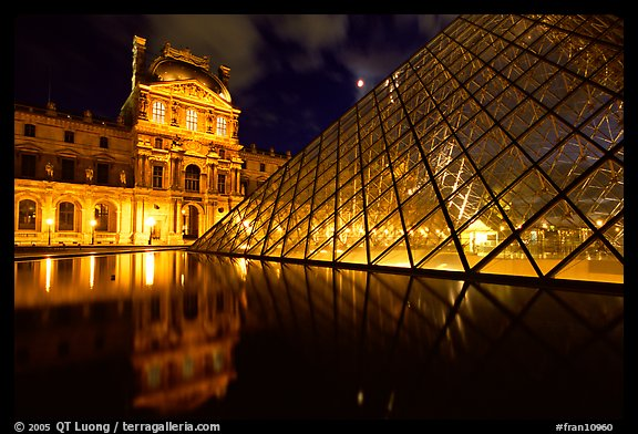 Louvre, Pei Pyramid and basin  at night. Paris, France