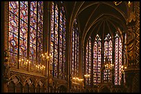 Sainte Chapelle haute covered with stained glass. Paris, France (color)