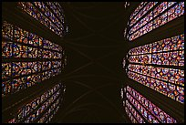 Stained glass and ceiling of Holy Chapel. Paris, France