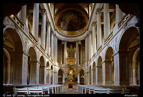 First floor of the Versailles palace chapel. France (color)