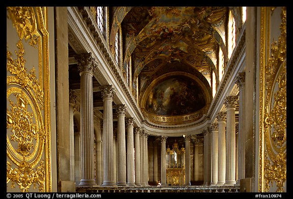 Second floor of the Versailles palace chapel. France (color)
