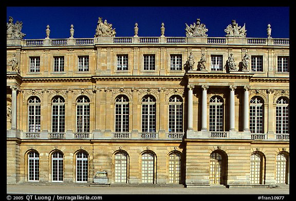 Frontal view of the Palais de Versailles, late afternoon. France (color)