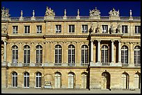 Frontal view of the Palais de Versailles, late afternoon. France