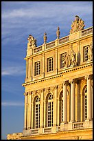 Detail of facade, late afternoon, Versailles palace. France