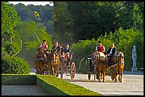 Horse carriages in the Versailles palace gardens. France