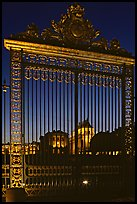 Versailles Palace gates at night. France