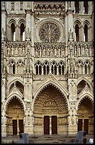 Frontal view  of Notre Dame Cathedral west facade, Amiens. France (color)