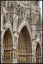 Side view of Cathedral facade, Amiens. France (color)