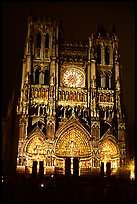Cathedral facade laser-illuminated at night to recreate original colors, Amiens. France ( color)