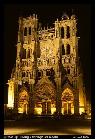Notre Dame Cathedral at night, Amiens. France (color)