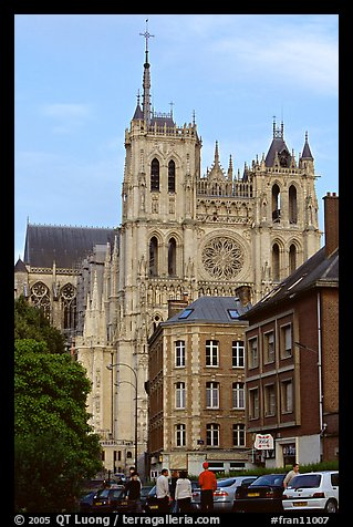 Houses and Cathedral, Amiens. France (color)