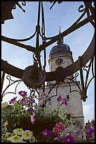 Flowers and clock tower,  Amiens. France ( color)
