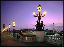Lamps on Alexandre III bridge at sunset. Paris, France (color)