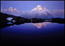 Aiguille Verte reflected in pond at dusk, Chamonix. France ( color)