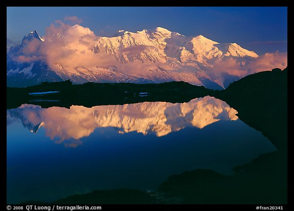 Mont Blanc reflected in pond at sunset, Chamonix. France (color)