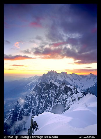Midi-Plan ridge, Aiguille Verte, Droites, and Courtes at sunrise, Chamonix. France
