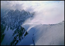 Alpinists on Aiguille du Midi ridge, Chamonix. France (color)