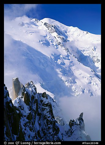 Cosmiques ridge and North Face of Mont Blanc, Chamonix. France (color)