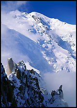 Cosmiques ridge and North Face of Mont Blanc, Chamonix. France ( color)