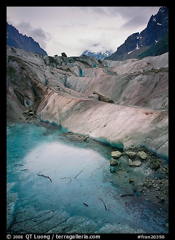 Glacial Pond on Mer de Glace glacier, Chamonix. France (color)