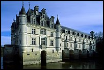 Chenonceaux chateau, built above the Cher river. Loire Valley, France (color)