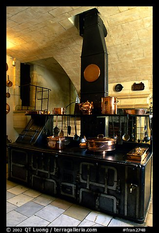 Kitchen of the Chenonceaux chateau. Loire Valley, France (color)