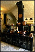 Kitchen of the Chenonceaux chateau. Loire Valley, France