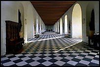 Gallery hall in the Chenonceaux chateau. Loire Valley, France