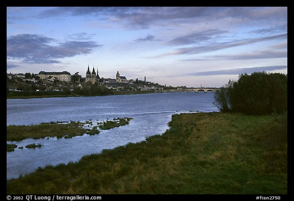 Blois across the loire river loire valley france color