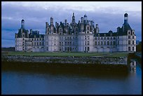Chambord chateau at dusk. Loire Valley, France